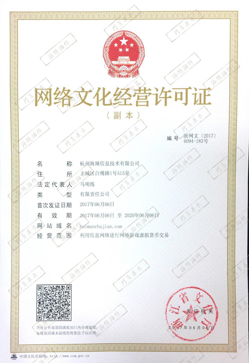 网络文化经营许可证(副本)